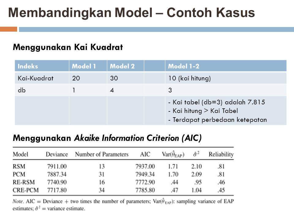 Membandingkan Model – Contoh Kasus IndeksModel 1Model 2Model 1-2 Kai-Kuadrat203010 (kai hitung) db143 - Kai tabel (db=3) adalah 7.815 - Kai hitung > K