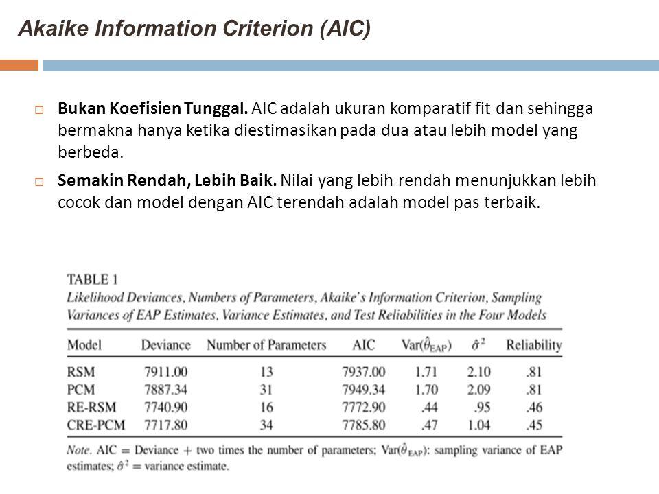 Akaike Information Criterion (AIC)  Bukan Koefisien Tunggal. AIC adalah ukuran komparatif fit dan sehingga bermakna hanya ketika diestimasikan pada d