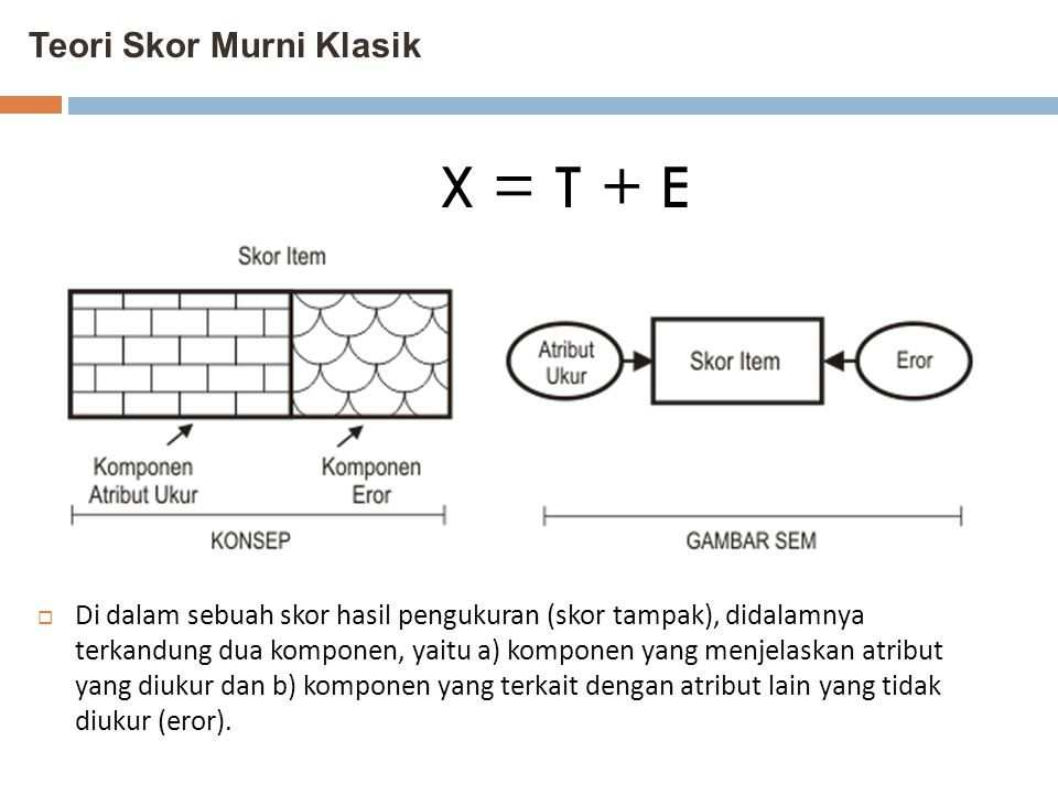 Teori Skor Murni Klasik  Di dalam sebuah skor hasil pengukuran (skor tampak), didalamnya terkandung dua komponen, yaitu a) komponen yang menjelaskan