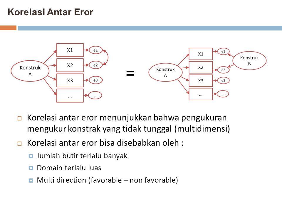 Korelasi Antar Eror  Korelasi antar eror menunjukkan bahwa pengukuran mengukur konstrak yang tidak tunggal (multidimensi)  Korelasi antar eror bisa