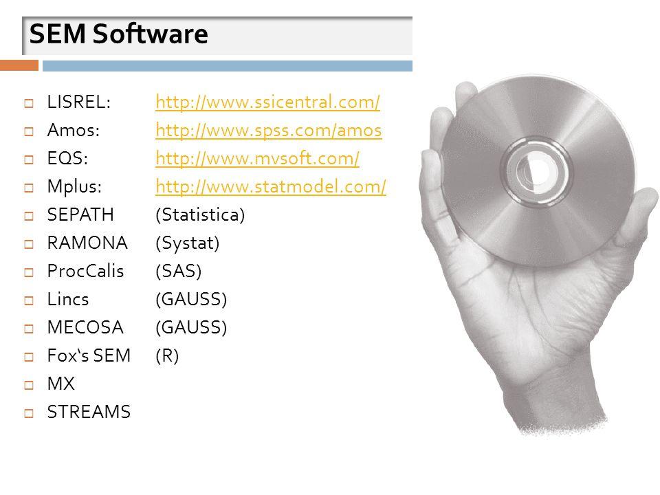 SEM Software  LISREL: http://www.ssicentral.com/http://www.ssicentral.com/  Amos: http://www.spss.com/amoshttp://www.spss.com/amos  EQS: http://www