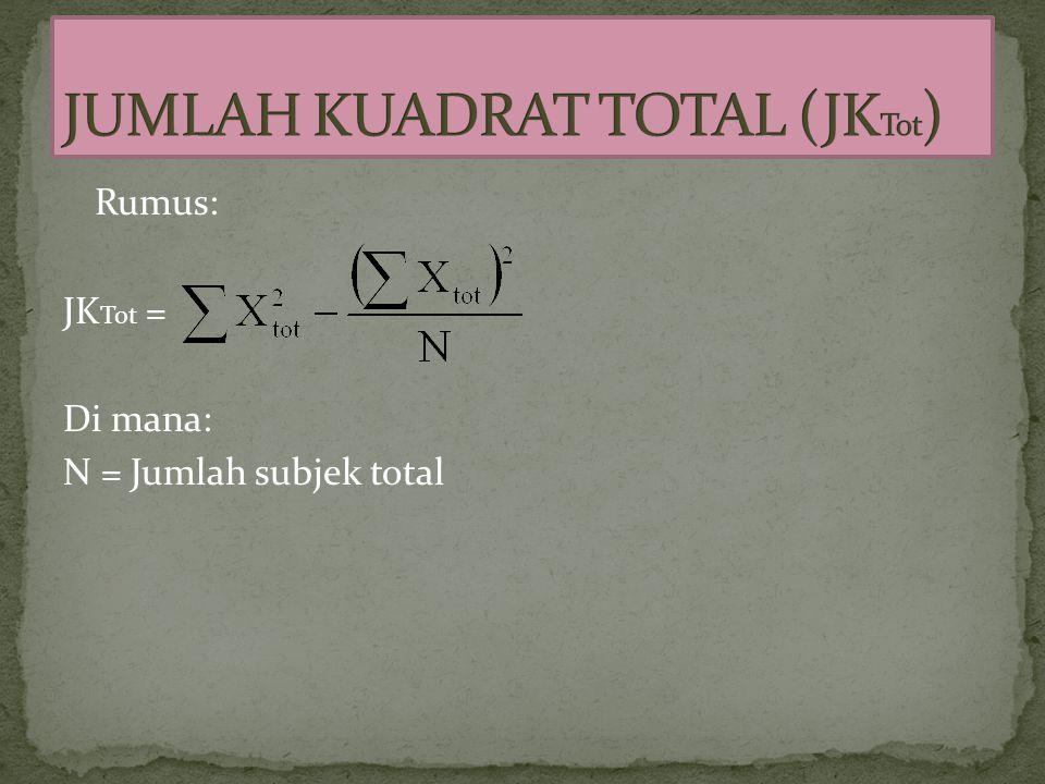 Rumus: JK Tot = Di mana: N = Jumlah subjek total