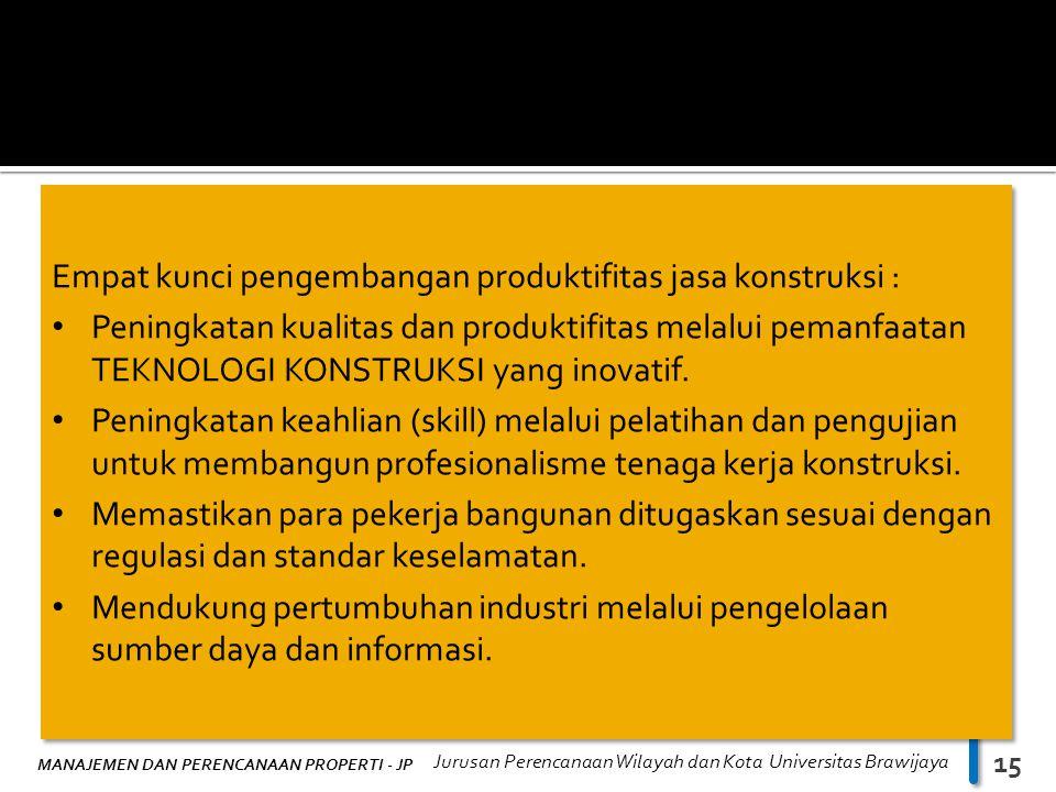 MANAJEMEN DAN PERENCANAAN PROPERTI - JP Jurusan Perencanaan Wilayah dan Kota Universitas Brawijaya 15 Empat kunci pengembangan produktifitas jasa kons