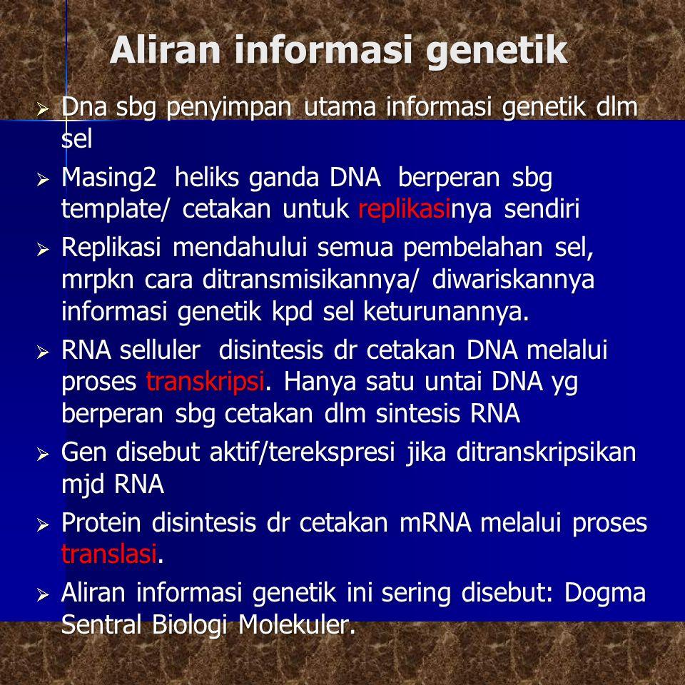 Aliran informasi genetik  Dna sbg penyimpan utama informasi genetik dlm sel  Masing2 heliks ganda DNA berperan sbg template/ cetakan untuk replikasinya sendiri  Replikasi mendahului semua pembelahan sel, mrpkn cara ditransmisikannya/ diwariskannya informasi genetik kpd sel keturunannya.