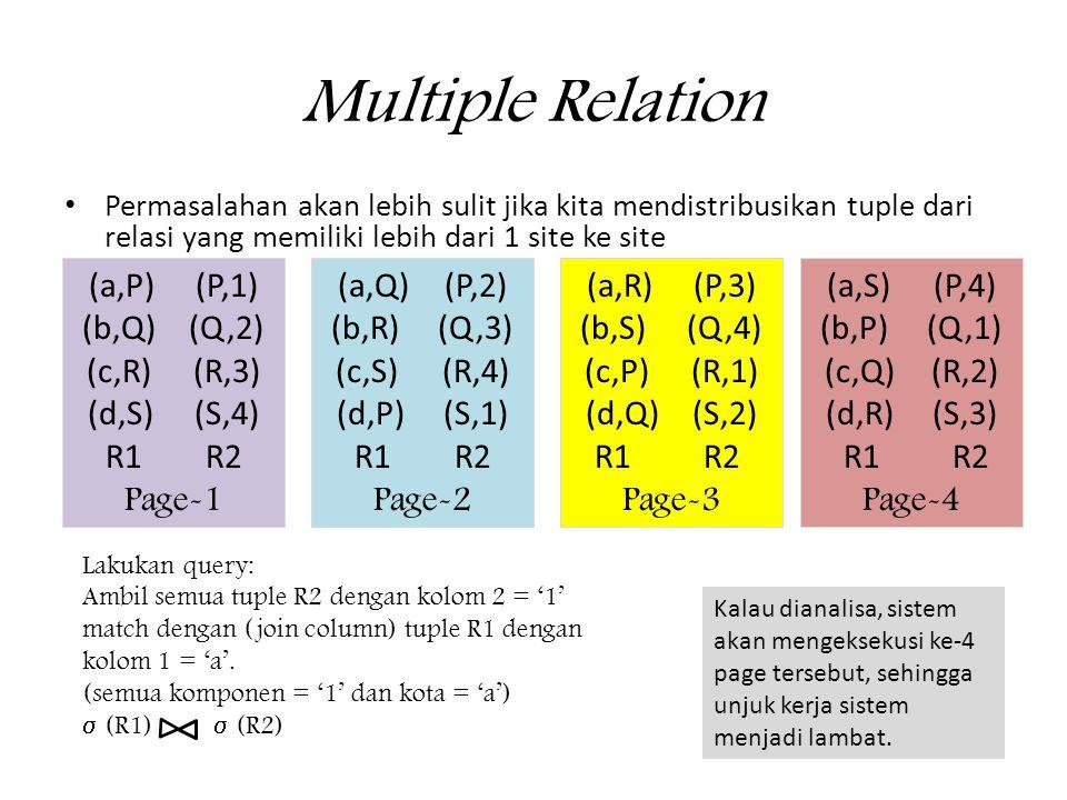 Multiple Relation • Permasalahan akan lebih sulit jika kita mendistribusikan tuple dari relasi yang memiliki lebih dari 1 site ke site (a,P)(P,1) (b,Q)(Q,2) (c,R)(R,3) (d,S)(S,4) R1 R2 Page-1 (a,Q)(P,2) (b,R)(Q,3) (c,S)(R,4) (d,P)(S,1) R1 R2 Page-2 (a,R)(P,3) (b,S)(Q,4) (c,P)(R,1) (d,Q)(S,2) R1 R2 Page-3 (a,S)(P,4) (b,P)(Q,1) (c,Q)(R,2) (d,R)(S,3) R1 R2 Page-4 Lakukan query: Ambil semua tuple R2 dengan kolom 2 = '1' match dengan (join column) tuple R1 dengan kolom 1 = 'a'.