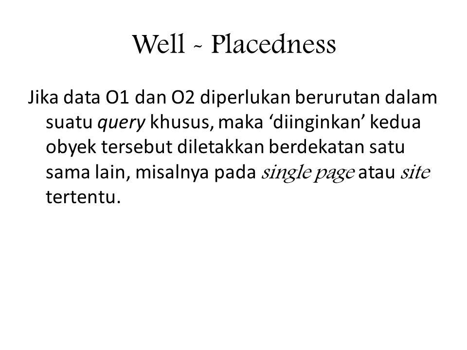 Well - Placedness Jika data O1 dan O2 diperlukan berurutan dalam suatu query khusus, maka 'diinginkan' kedua obyek tersebut diletakkan berdekatan satu sama lain, misalnya pada single page atau site tertentu.