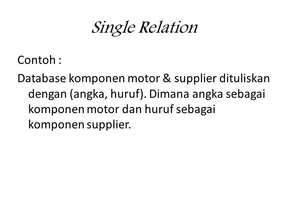 Single Relation Contoh : Database komponen motor & supplier dituliskan dengan (angka, huruf).