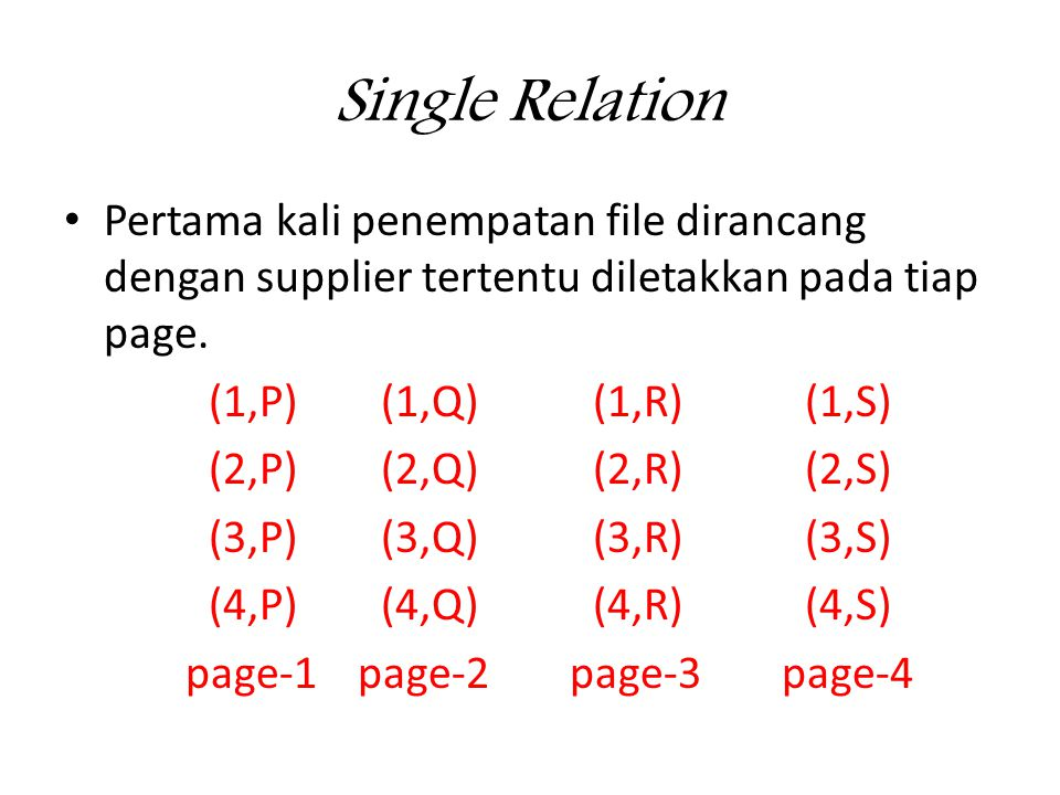 Single Relation • Andaikan ada query Tampilkan suplier yang mensupply komponen-1.