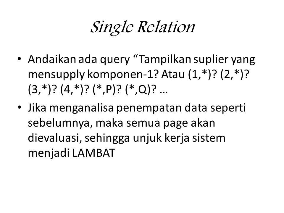 Single Relation • Andaikan ada query Tampilkan suplier yang mensupply komponen-1.