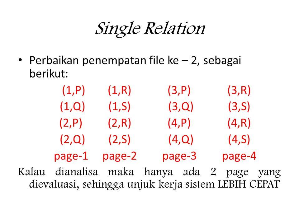 Single Relation • Perbaikan penempatan file ke – 2, sebagai berikut: (1,P)(1,R)(3,P)(3,R) (1,Q)(1,S)(3,Q)(3,S) (2,P)(2,R)(4,P)(4,R) (2,Q)(2,S)(4,Q)(4,S) page-1page-2page-3page-4 Kalau dianalisa maka hanya ada 2 page yang dievaluasi, sehingga unjuk kerja sistem LEBIH CEPAT