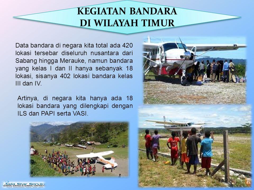 Data bandara di negara kita total ada 420 lokasi tersebar diseluruh nusantara dari Sabang hingga Merauke, namun bandara yang kelas I dan II hanya sebanyak 18 lokasi, sisanya 402 lokasi bandara kelas III dan IV.