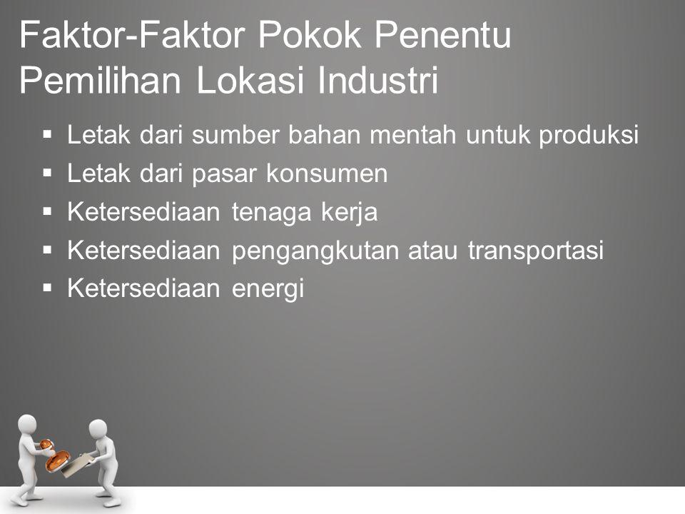 Jenis-Jenis Lokasi Perusahaan •ditetapkan pemerintah •mengikuti sejarah •mengikuti kondisi alam •mengikuti faktor-faktor ekonomi