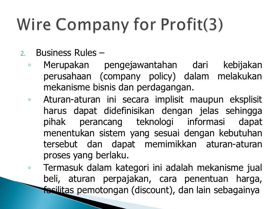 2. Business Rules – ◦ Merupakan pengejawantahan dari kebijakan perusahaan (company policy) dalam melakukan mekanisme bisnis dan perdagangan. ◦ Aturan-