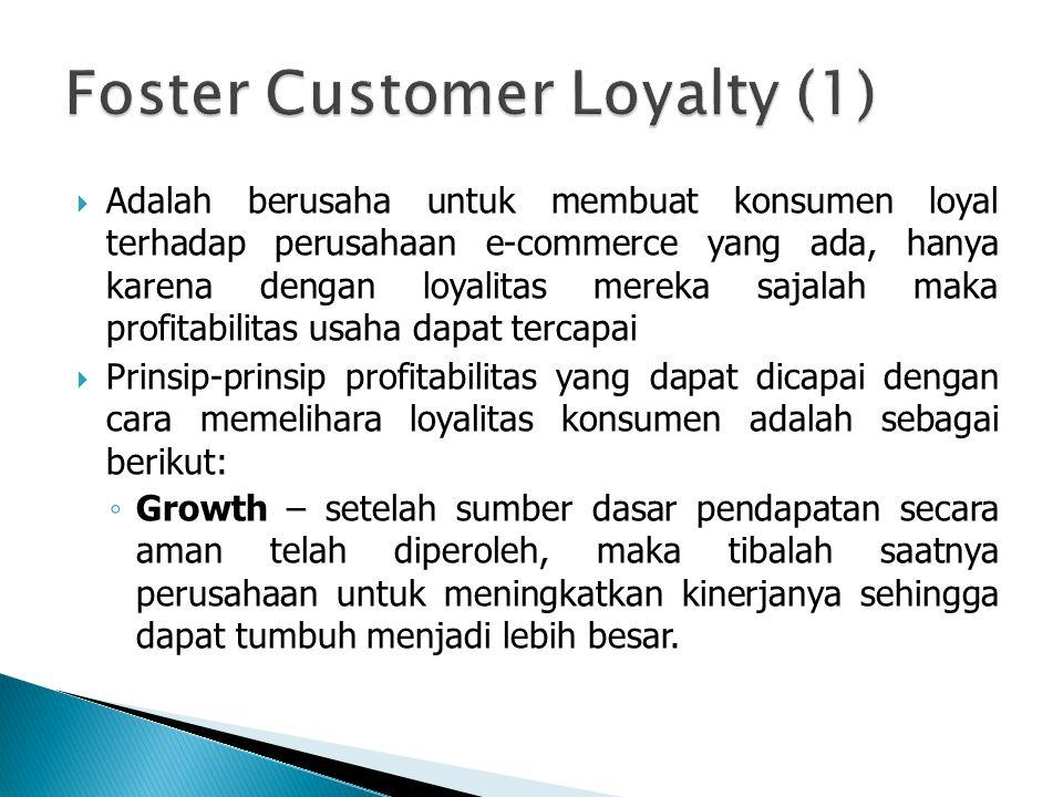  Adalah berusaha untuk membuat konsumen loyal terhadap perusahaan e-commerce yang ada, hanya karena dengan loyalitas mereka sajalah maka profitabilit