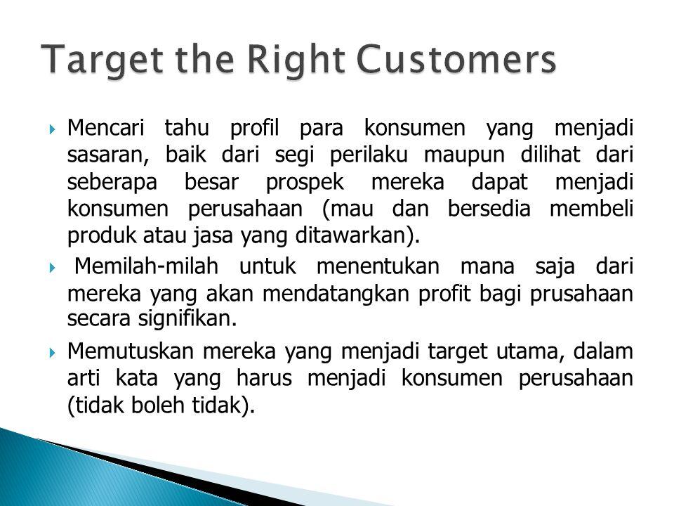  Mencari tahu profil para konsumen yang menjadi sasaran, baik dari segi perilaku maupun dilihat dari seberapa besar prospek mereka dapat menjadi konsumen perusahaan (mau dan bersedia membeli produk atau jasa yang ditawarkan).