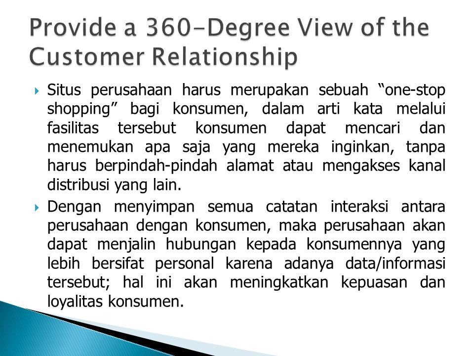  Situs perusahaan harus merupakan sebuah one-stop shopping bagi konsumen, dalam arti kata melalui fasilitas tersebut konsumen dapat mencari dan menemukan apa saja yang mereka inginkan, tanpa harus berpindah-pindah alamat atau mengakses kanal distribusi yang lain.