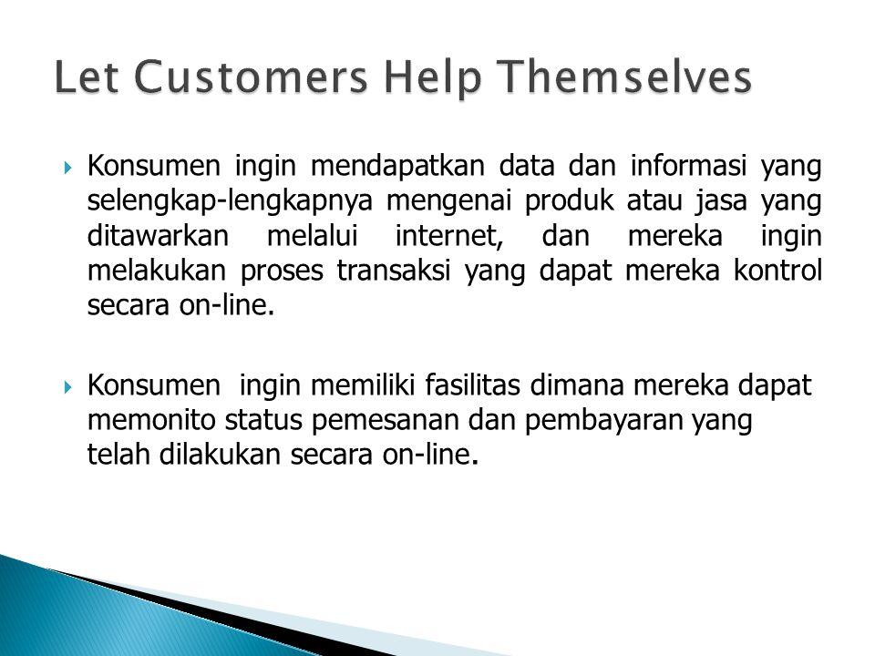  Konsumen ingin mendapatkan data dan informasi yang selengkap-lengkapnya mengenai produk atau jasa yang ditawarkan melalui internet, dan mereka ingin melakukan proses transaksi yang dapat mereka kontrol secara on-line.