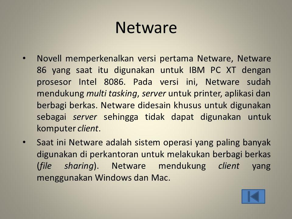 Netware • Novell memperkenalkan versi pertama Netware, Netware 86 yang saat itu digunakan untuk IBM PC XT dengan prosesor Intel 8086. Pada versi ini,