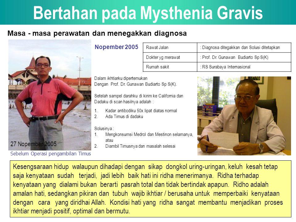 Bertahan pada Mysthenia Gravis Masa - masa perawatan dan menegakkan diagnosa Nopember 2005 Rawat Jalan: Diagnosa ditegakkan dan Solusi ditetapkan Dokter yg merawat: Prof.