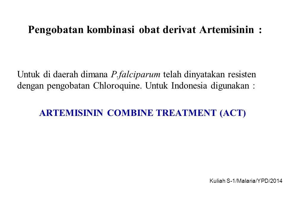 Pengobatan kombinasi obat derivat Artemisinin : Untuk di daerah dimana P.falciparum telah dinyatakan resisten dengan pengobatan Chloroquine. Untuk Ind