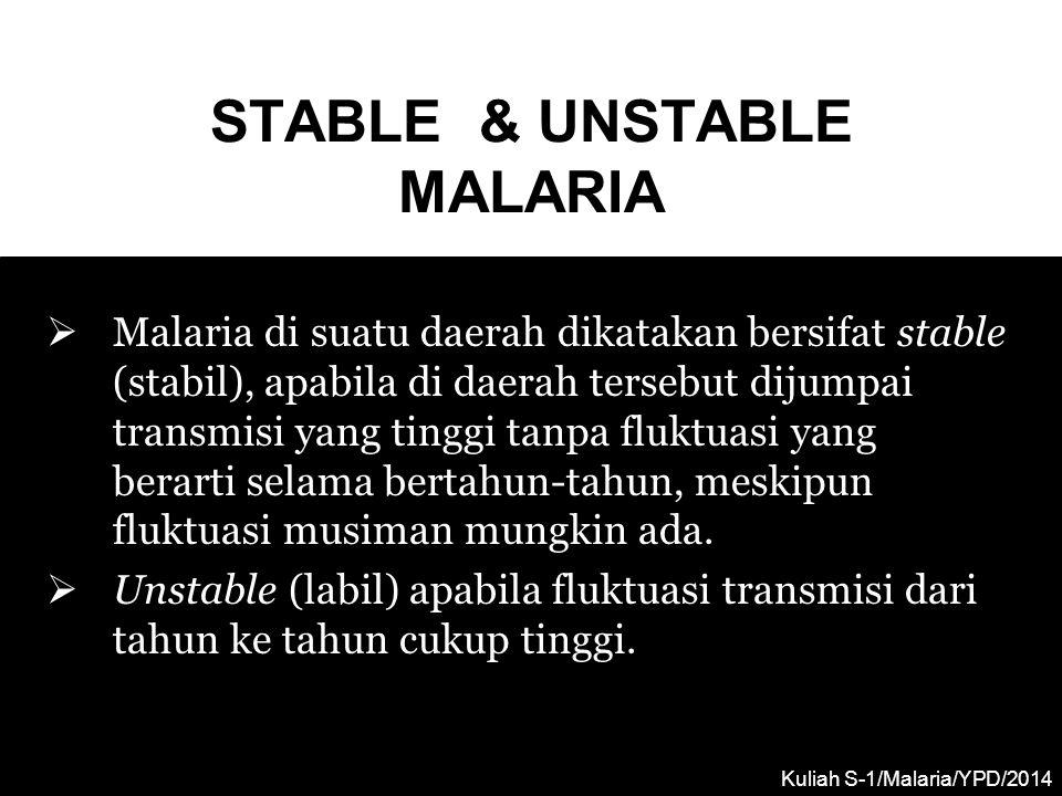STABLE & UNSTABLE MALARIA  Malaria di suatu daerah dikatakan bersifat stable (stabil), apabila di daerah tersebut dijumpai transmisi yang tinggi tanp