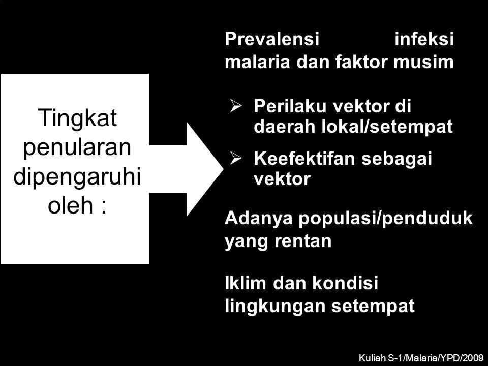 DAERAH ENDEMIK MALARIA •Malaria di suatu daerah dikatakan endemik, apabila kesakitannya yang disebabkan oleh infeksi alamiah, kurang lebih konstan selama beberapa tahun berturut- turut •Berdasarkan hasil Spleen rate (SR) pada kelompok 2 – 9 tahun yang diperoleh dari suatu survey malariometrik, suatu daerah dapat diklasifikasikan menjadi 4 tingkat endemisitas •Di daerah yang holoendemik, SR pada orang dewasa rendah oleh karena telah timbul imunitas diantara mereka, disebabkan oleh transmisi yang tinggi sepanjang tahun Kuliah S-1/Malaria/YPD/2014