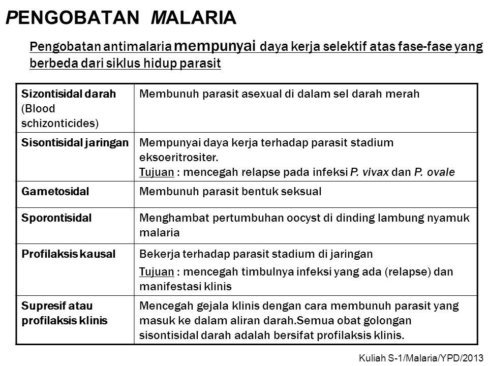 PENGOBATAN MALARIA Pengobatan antimalaria mempunyai daya kerja selektif atas fase-fase yang berbeda dari siklus hidup parasit Sizontisidal darah (Bloo