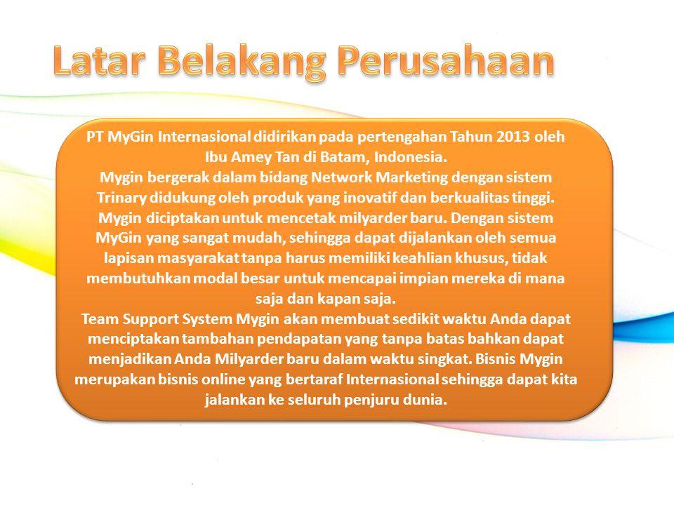 PT MyGin Internasional didirikan pada pertengahan Tahun 2013 oleh Ibu Amey Tan di Batam, Indonesia. Mygin bergerak dalam bidang Network Marketing deng