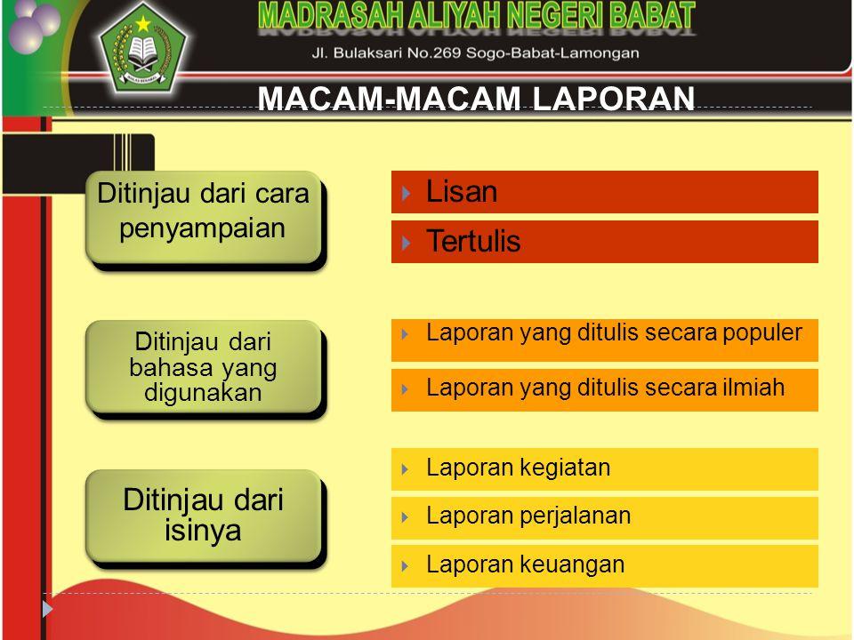 MACAM-MACAM LAPORAN  Lisan  Tertulis  Laporan yang ditulis secara populer  Laporan yang ditulis secara ilmiah  Laporan kegiatan  Laporan perjala
