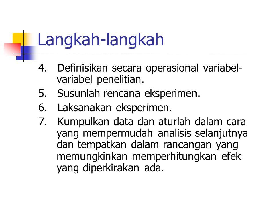 Langkah-langkah 4. Definisikan secara operasional variabel- variabel penelitian. 5. Susunlah rencana eksperimen. 6. Laksanakan eksperimen. 7. Kumpulka