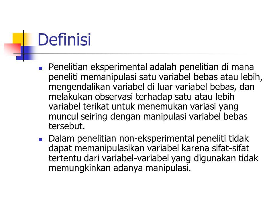 Validititas Eksternal  Validitas eksternal juga mempertanyakan kerepresentatifan variabel.