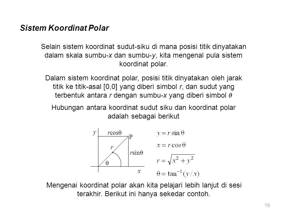 Sistem Koordinat Polar Selain sistem koordinat sudut-siku di mana posisi titik dinyatakan dalam skala sumbu-x dan sumbu-y, kita mengenal pula sistem koordinat polar.