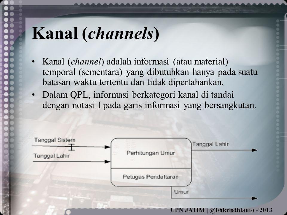 UPN JATIM | @bhkrisdhianto - 2013 Kanal (channels) •Kanal (channel) adalah informasi (atau material) temporal (sementara) yang dibutuhkan hanya pada suatu batasan waktu tertentu dan tidak dipertahankan.