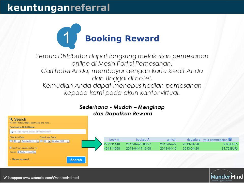 Booking Reward 1 keuntunganreferral Semua Distributor dapat langsung melakukan pemesanan online di Mesin Portal Pemesanan, Cari hotel Anda, membayar dengan kartu kredit Anda dan tinggal di hotel.