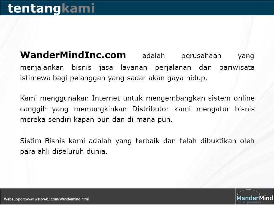 WanderMindInc.com adalah perusahaan yang menjalankan bisnis jasa layanan perjalanan dan pariwisata istimewa bagi pelanggan yang sadar akan gaya hidup.