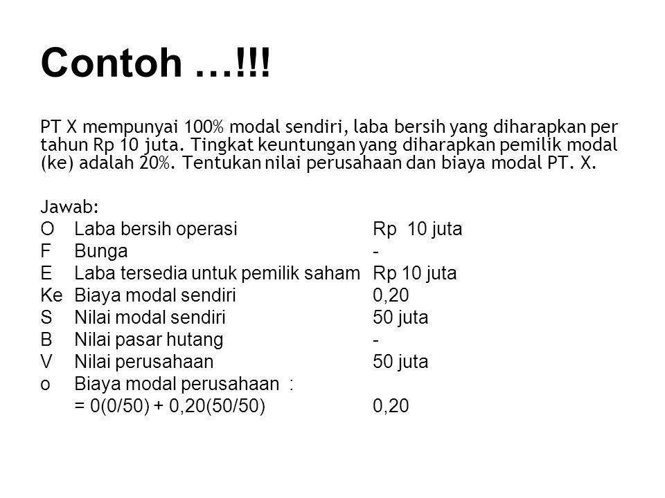 Contoh …!!.PT X mempunyai 100% modal sendiri, laba bersih yang diharapkan per tahun Rp 10 juta.
