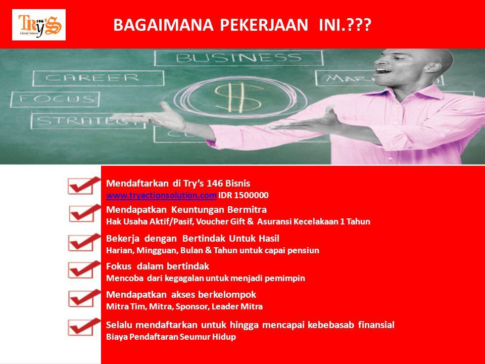 Mendaftarkan di Try's 146 Bisnis www.tryactionsolution.comwww.tryactionsolution.com IDR 1500000 Mendapatkan Keuntungan Bermitra Hak Usaha Aktif/Pasif,