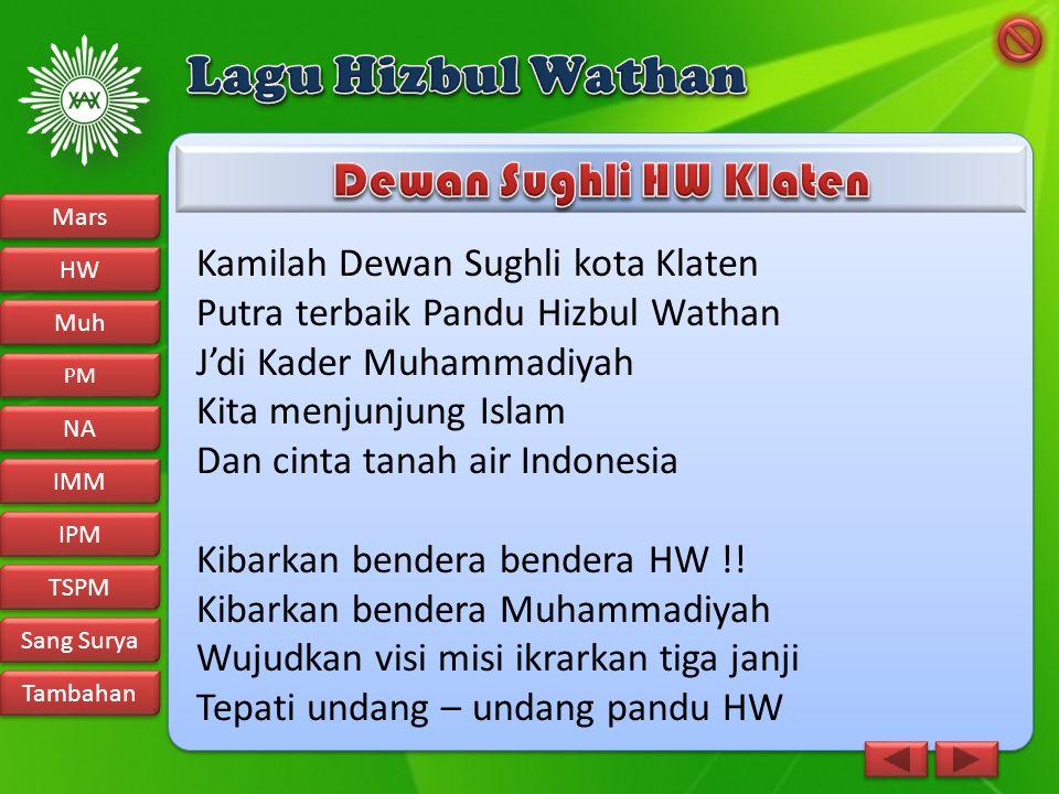 Kamilah Dewan Sughli kota Klaten Putra terbaik Pandu Hizbul Wathan J'di Kader Muhammadiyah Kita menjunjung Islam Dan cinta tanah air Indonesia Kibarka