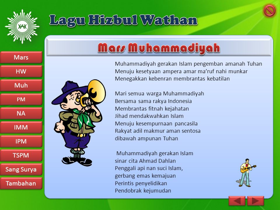 Muhammadiyah gerakan Islam pengemban amanah Tuhan Menuju kesetyaan ampera amar ma'ruf nahi munkar Menegakkan kebenran membrantas kebatilan Mari semua