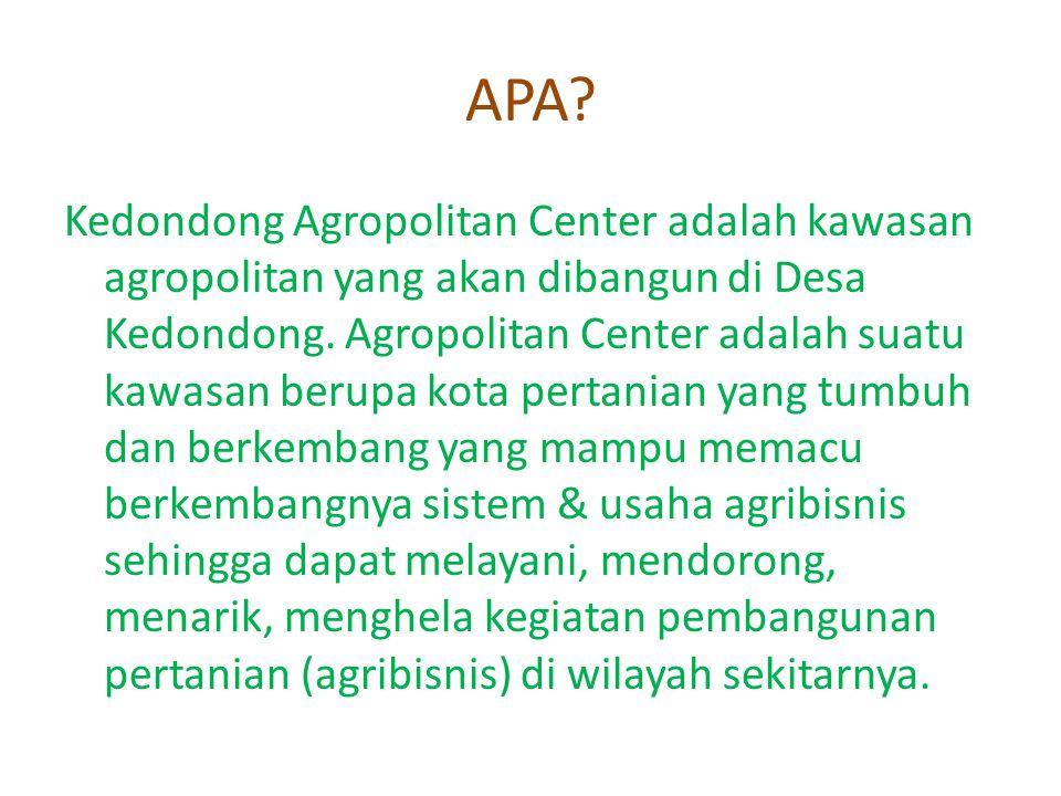 APA? Kedondong Agropolitan Center adalah kawasan agropolitan yang akan dibangun di Desa Kedondong. Agropolitan Center adalah suatu kawasan berupa kota