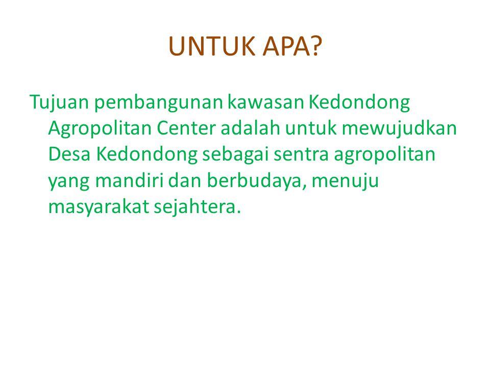UNTUK APA? Tujuan pembangunan kawasan Kedondong Agropolitan Center adalah untuk mewujudkan Desa Kedondong sebagai sentra agropolitan yang mandiri dan
