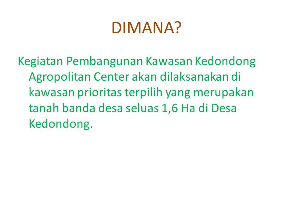 DIMANA? Kegiatan Pembangunan Kawasan Kedondong Agropolitan Center akan dilaksanakan di kawasan prioritas terpilih yang merupakan tanah banda desa selu