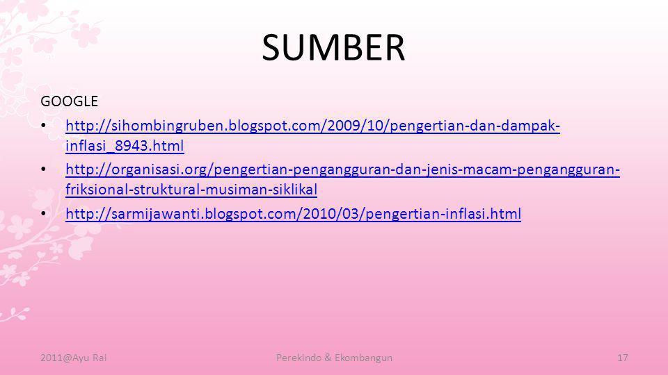 SUMBER GOOGLE •h•http://sihombingruben.blogspot.com/2009/10/pengertian-dan-dampak- inflasi_8943.html •h•http://organisasi.org/pengertian-pengangguran-dan-jenis-macam-pengangguran- friksional-struktural-musiman-siklikal •h•http://sarmijawanti.blogspot.com/2010/03/pengertian-inflasi.html 2011@Ayu RaiPerekindo & Ekombangun17