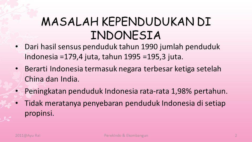 MASALAH KEPENDUDUKAN DI INDONESIA • Dari hasil sensus penduduk tahun 1990 jumlah penduduk Indonesia =179,4 juta, tahun 1995 =195,3 juta. • Berarti Ind