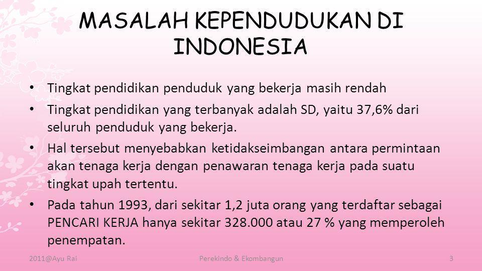 MASALAH KEPENDUDUKAN DI INDONESIA A.Masalah Akibat Angka Kelahiran 1.