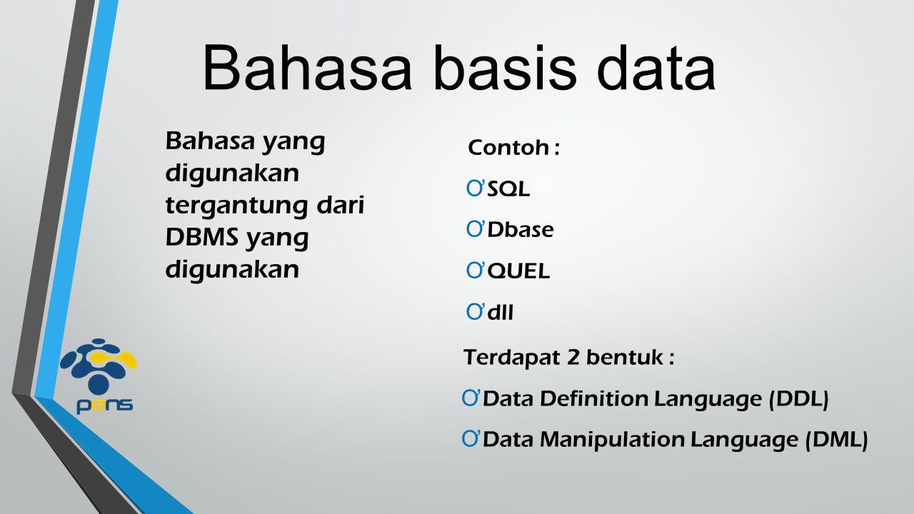 Bahasa basis data Bahasa yang digunakan tergantung dari DBMS yang digunakan Contoh : Ơ SQL Ơ Dbase Ơ QUEL Ơ dll Terdapat 2 bentuk : Ơ Data Definition