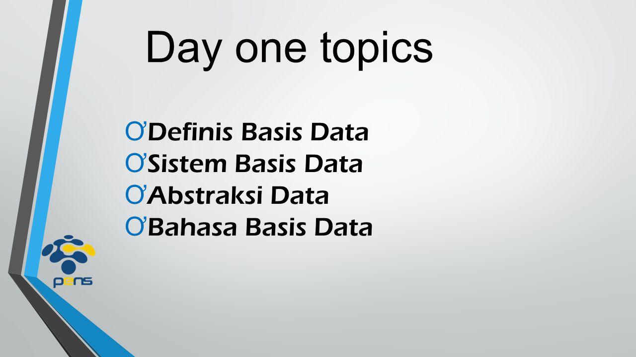 definisi basis data ƠBasis Markas atau gudang; tempat bersarang atau berkumpul ƠData Representasi fakta dunia nyata yang dapat dijadikan dasar kajian (kesimpulan atau analisa) dan mewakili suatu objek berupa bentuk digital, misal angka, huruf, teks, gambar atau cahaya ƠBasis data Kumpulan informasi/data/file/arsip yang berbeda dan saling berhubungan agar dapat diolah menjadi informasi yang lebih berguna