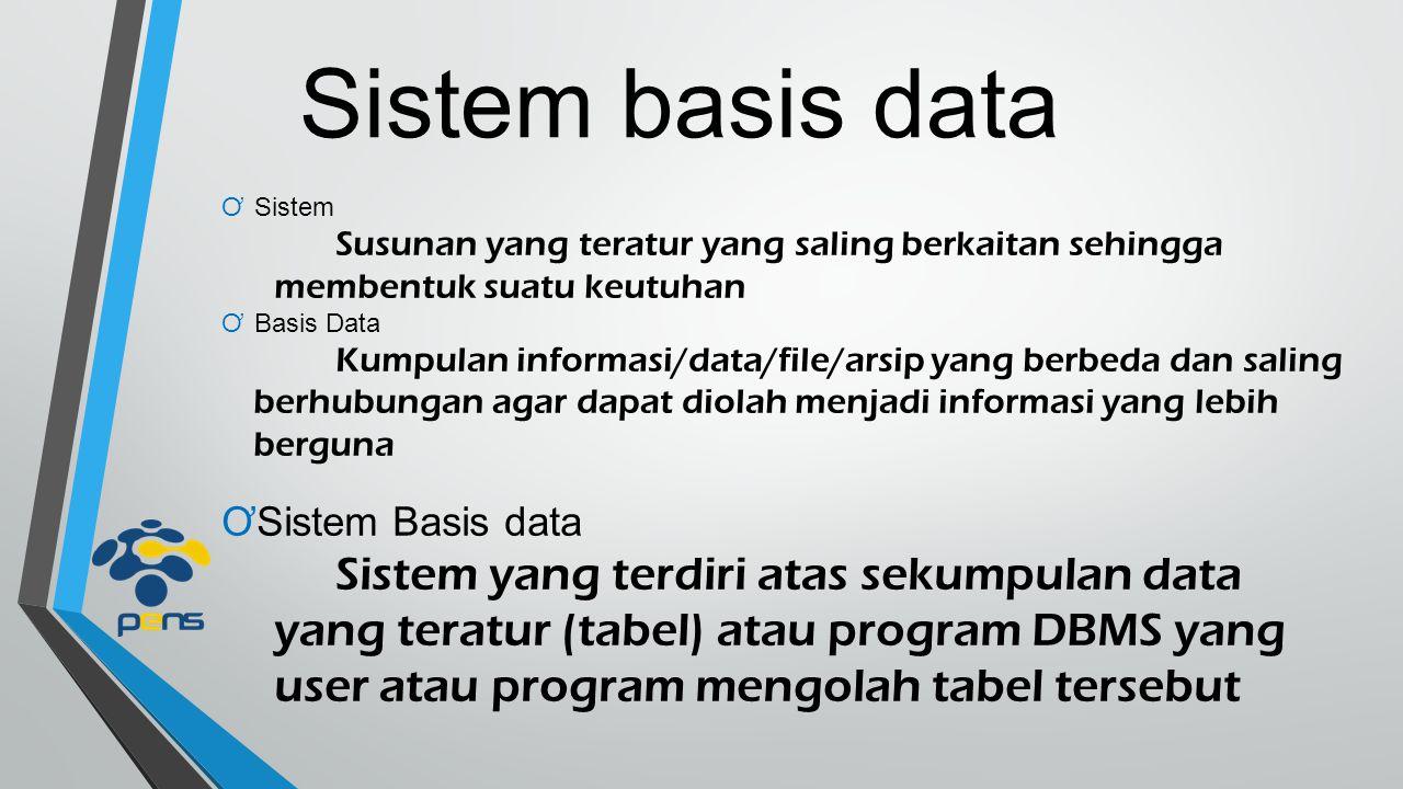Sistem basis data ƠSistem Susunan yang teratur yang saling berkaitan sehingga membentuk suatu keutuhan ƠBasis Data Kumpulan informasi/data/file/arsip