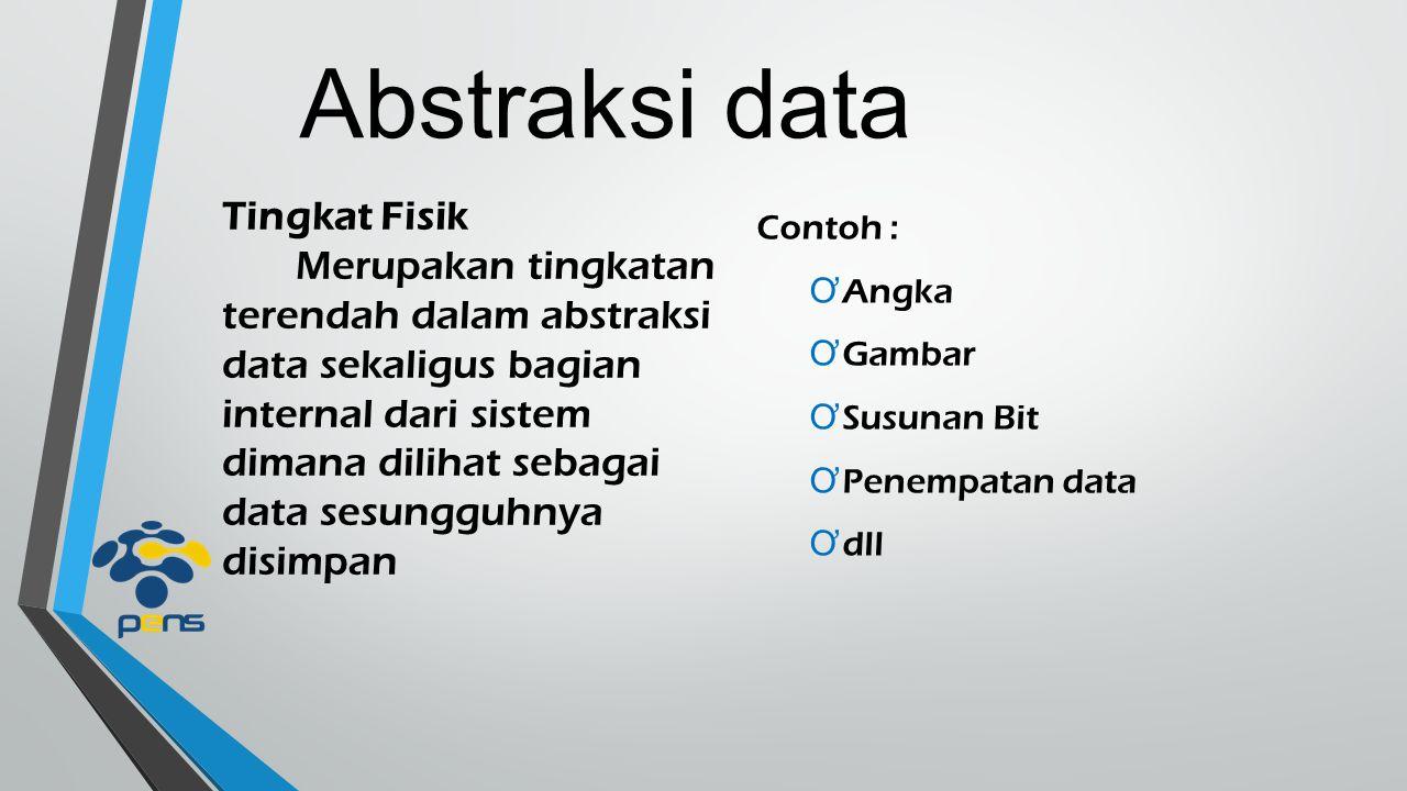 Abstraksi data Tingkat Konseptual Merupakan tingkatan menengah dalam abstraksi data dimana dilihat hubungan antar data dan data sesungguhnya disimpan secara fungsional Contoh : Ơ Entitas, atribut dan relasi Ơ Integritas data Ơ Informasi keamanan Ơ dll