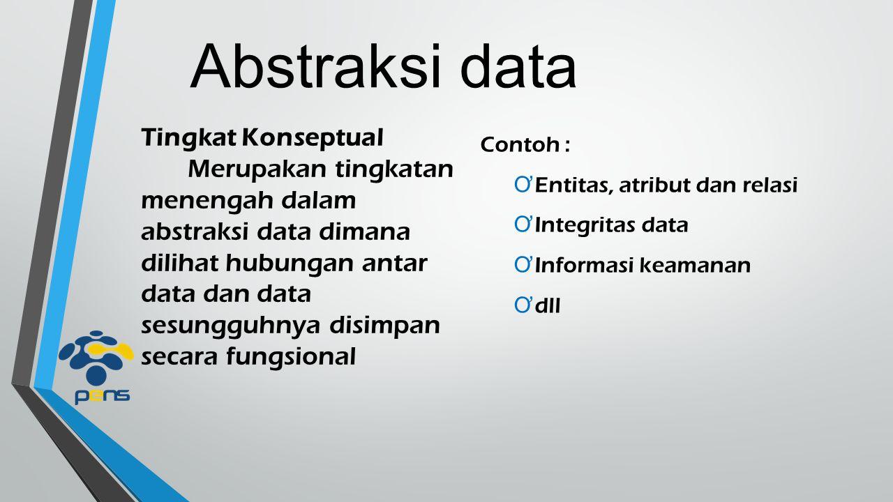 Abstraksi data Tingkat Pandangan atau pengguna Merupakan tingkatan tertinggi dalam abstraksi data sekaligus bagian eksternal dari sistem (enduser) dimana hanya diperlihatkan sebagian data atau olahan informasi Contoh : Ơ Laporan harian Ơ Biodata diri Ơ dll
